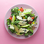 Mixed leaf salad with blue cheese and apple