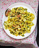 Pappardelle with herbs, green olives, capers and pangrattato
