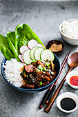 Eyuk-Bokkeum (stir-fry pork with vegetables and rice)