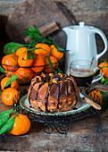 Mandarinen-Marmorkuchen mit Schokosauce