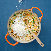 Barley risotto with vegetable confetti