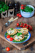 Pastry tarts with chicken hearts and cheese