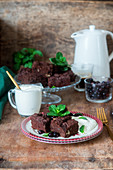 Chocolate brownie cake with sour cream