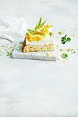 A piece of Pina Colada Tres Leches cake