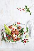 Thai salad with crispy asian chicken