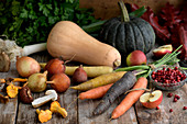 Root crops, pumpkin, onion, mushroom and lingonberries