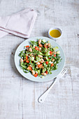 Rocket salad with white beans, peppers and cucumber