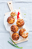 Spicy vegetable muffins with peppers and spring onions
