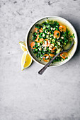 Kale soup with white beans and carrots