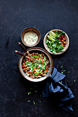 Stir fry with chicken, chili and cilantro (Asia)