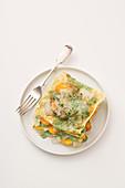 Buckwheat lasagne with chard and sweet potatoes