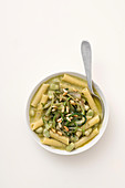 Ziti with fava beans and puntarelle