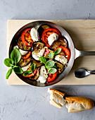 Pan caprese with balsamic aubergines