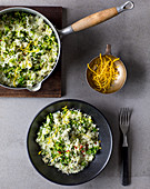 Broccoli risotto with almonds