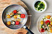 Roasted feta cheese skewers with watermelon and feta cheese