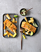 Anis-Limetten-Lachs mit Gemüse und Matcha-Dressing
