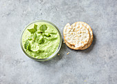Green pea spread with goat's cheese and mint