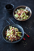 Cabbage with ginger, sesame oil and red Thai rice (vegan)