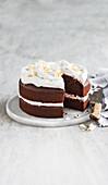 Vegan chocolate cake with coconut cream frosting