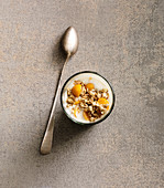 A porridge shot with physalis