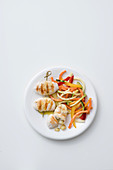 Grilled chicken rolls with potato and rosemary filling