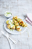 Chicken cucumber skewers with jacket potatoes and herb quark