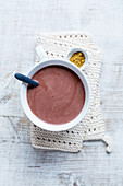 Hot chocolate with almond milk and spices