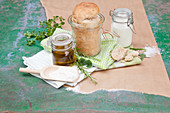Wild herb bread baked in a glass