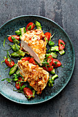 Almond chicken with asparagus salsa