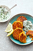 Carrot and feta cheese fritters with a cucumber dip