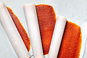 Rolled peach and apricot fruit leather