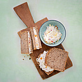 Wholemeal bread with apricot and walnut quark