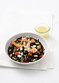 Black rice with prawns, peppers, almonds and a lemon vinaigrette