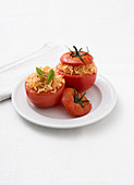 Stuffed tomatoes filled with tomato and peppermint rice