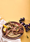 Aubergine-and-rosemary mash with lamb chops