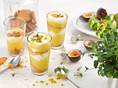 Mango and yoghurt parfait with passion fruit