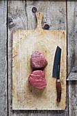 Fillet steak on a chopping board