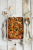 Vegetarian butternut squash and spinach pasta rotolo dish
