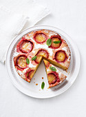 Sunken plum cake, sliced
