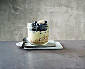 Layered muesli with yoghurt and blueberries