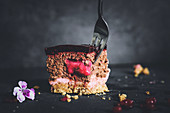 Mousse cake with amarettini, redcurrants and chocolate