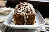 Moist banana bread with chocolate