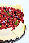 Bavarian cream cake with berries