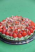 Basil and strawberry pie