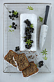 Buckwheat chocolate cake with nuts and blackcurrants