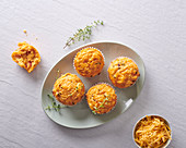 Savoury cheese and onion flavoured muffins