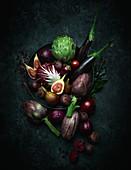 Stilleben mit violettem Obst und Gemüse