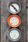 Horseradish soup, daisy soup and apple celery soup with lovage