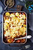 Sausage and veggies bake with potatoes