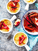 Lemon Bread and Butter Pudding with Baked Rhubarb